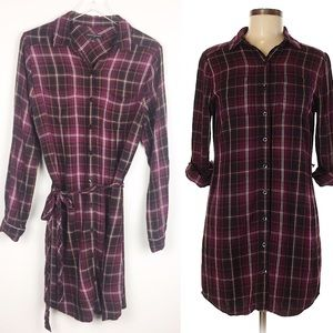 Banana Republic | Burgundy Plaid Shirt Dress | 8